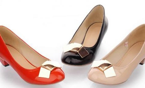 Korean Round Patent Leather Bow Female Shoel
