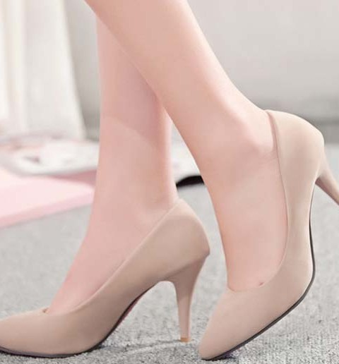 Plain Pointed High-Heeled Shoes-010316_2